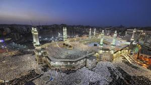 Mecca's main mosque after sunset (photo: AP)