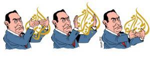 Latuff cartoon: Mubarak tries to censor Al Jazeera (image: Latauff/Wikipedia)