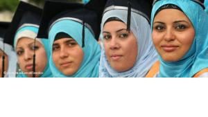 Female Palestinian graduates during their graduation ceremony (photo: picture-alliance/landov)