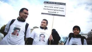 Berlin, November 4th 2012: Several hundrets of citizens demonstrate against racism, some of them wearing T-Shirts showing photos of the victims of the NSU-terrorist cell (photo: Kay Nietfeld/dpa)