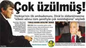 Screenshot of the Turkish daily 'Taraf' with a photograph of Hrant Dink and Mehmet Nihat Ömeroğlu (source: Taraf)