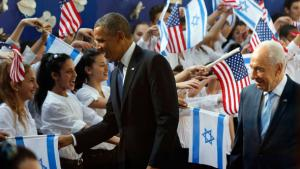 US President Barack Obama shaking hands with young Israelis (photo: Reuters)
