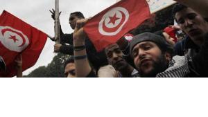 Tunisians celebrate the fall of dictator Ben Ali (photo: AP)