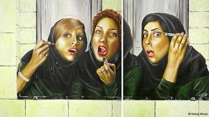 Despite strictly enforced moral guidelines, plastic surgery is allowed in Iran. For instance, more than 60,000 Iranian women per year undergo nose surgery. Tehran-born artist Homa Arkani has made a name for herself exploring such contradictions since 1983. (all images: Homa Arkani)