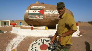 A man stands by a mural painted on a stone in Bir Lehlu, the Liberated Territories administrative capital (photo: DW/Karlos Zurutuza)