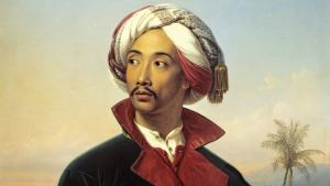 Raden Saleh (1811 - 1880) was the first Asian to be trained in the art of painting in Europe. The exotic and talented artist became one of the founders of German Orientalism. Saleh, shown here dressed as an Oriental prince in a painting by Johann Carl Baehr, was held in high esteem.