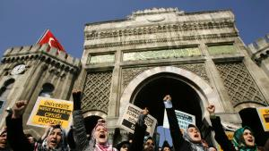 Protests at Istanbul University (photo: AP)