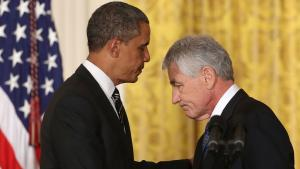 US President Barack Obama (l.) and the US Minister of Defence Chuck Hagel (photo: Getty Images)