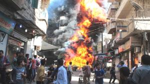 Bombenexplosion im Aleppiner Stadtteil Bustan Al-Qasr; Foto: Reuters