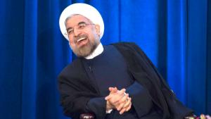 Iran's President Hassan Rohani laughs as he speaks during an event hosted by the Council on Foreign Relations and the Asia Society in New York, September 26, 2013 (photo: Keith Bedford /REUTERS)