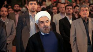 Iranian President Hassan Rohani at the University of Tehran (photo: ISNA)