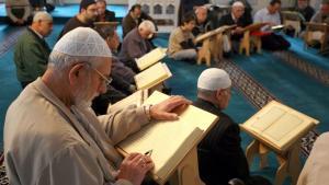 Muslim men praying in Berlin's Sehitlik Mosque (photo: picture-alliance/dpa)
