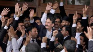 Pakistan's deposed Chief Justice Iftikhar Mohammed Chaudhry, center, is greeted by lawyers after the government announced to reinstate him at his residence in Islamabad, Pakistan on Monday, March 16, 2009 (photo: AP Photo/Anjum Naveed)