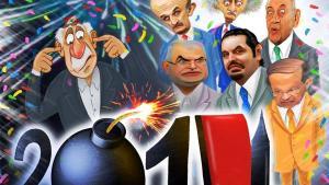 Caricatures of Lebanese politicians (including Saad Hariri, Samir Geagea, Walid Jumblatt, President Michel Sulaiman) celebrating New Year and looking ahead to an explosive 2014 (photo: Facebook Ad-Dabbour Magazine/Eliot)