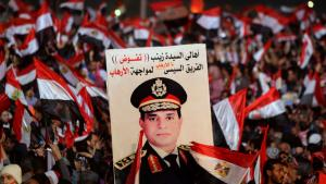 Supporters of General Abdul Fattah al-Sisi on Tahrir Square in Cairo on the third anniversary of the revolution (photo: Reuters)