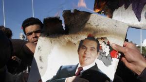 Demonstrators in Tunis burning a picture of the former President Zine el-Abidine Ben Ali (photo: dapd)