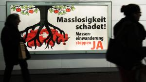 """Poster for the """"Yes"""" campaign in the recent referendum on immigration in Switzerland (photo: picture-alliance/dpa)"""