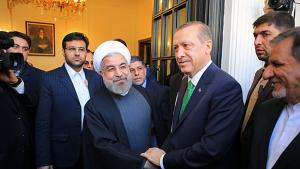 Turkish Prime Minister Recep Tayyip Erdogan visiting Iranian President Hassan Rouhani on 29 January 2014 (photo: MEHR)
