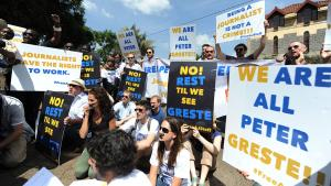 Protest against the imprisonment of the Al Jazeera journalist Peter Greste (photo: Simon Maina/AFP/Getty Images)