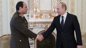 Russia's President Putin, right, greets Egypt's General Al-Sisi (photo: Reuters)