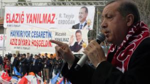 Turkish Prime Minister Recep Tayyip Erdogan addresses an AKP rally in Elazig, Turkey, on 6 March 2014 (photo: picture-alliance/AP Photo)