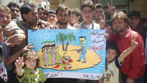 A peaceful demonstration against the Assad regime in Kafranbel (photo: Reuters)