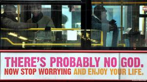 """The advertisement on a British bus claiming that """"there is probably no God"""" was part of a campaign backed by the British Humanist Association (photo: picture-alliance/dpa)"""