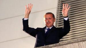 Turkish PM Recep Tayyip Erdogan greets his supporters in Ankara on 31 March 2014 (photo: Reuters)
