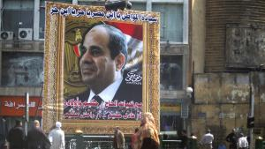 "A poster of Abdul Fattah al-Sisi seen in central Cairo. It reads ""Sisi, son of Egypt. You are free. Son of freedom"" (photo: Reuters)"