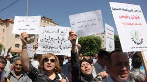 Palestinian women protesting in Ramallah (photo: Mohanad Adam)