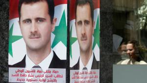Pro-Assad election posters in Damascus (photo: Reuters)