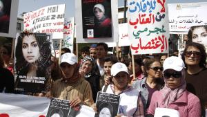 Women protesting outside the parliament in Rabat on 17 March 2012 after the suicide of Amina Filali (photo: STR/AFP/Getty Images)