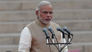 Indian Prime Minister Narendra Modi takes his oath at the presidential palace in New Delhi on 26 May 2014 (photo: Reuters)