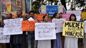 Protest against recent honour killings in Lahore, Pakistan, on 27 May 2014 (photo: AAMIR QURESHI/AFP/Getty Images)