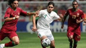 Vahid Hashemian of Iran (centre) challenges Fernando Meira (left) and Miguel of Portugal during the first round match between Portugal and Iran at the 2006 World Cup (photo: ULMER/Florian Eisele)