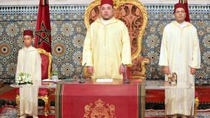 Morocco's King Mohammed VI (centre) with his son and heir, Prince Moulay Hassan (left), and his brother Prince Moulay Rachid (photo: picture-alliance/dpa)