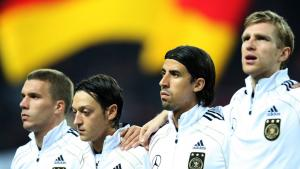 German footballers Lukas Podolski (l.), Mesut Özil, Sami Khedira and Per Mertesacker. Photo: picture-alliance/augenklick/firo Sportphoto