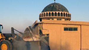 ISIS using a bulldozer to destroy Sunni sites in Tal Afar. Photo: justpaste.it/atrah