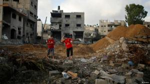 Ruins of a house in Gaza after a rocket attack on 13.07.2014. Photo: Reuters