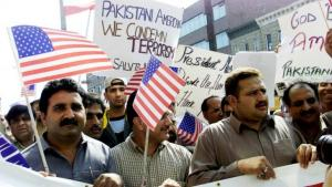 Muslims demonstrating after Friday prayers in Brooklyn, New York, to show their solidarity with the US after the 9/11 attacks (photo: Reuters)