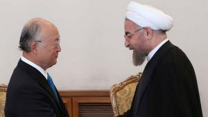 Yukiya Amano, head of the IAEA, and President Hassan Rouhani of Iran during a meeting in Tehran on 17 August 2014 (photo: IRNA)