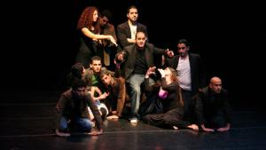 A rehearsal by students at the School of Acting in Ramallah (photo: Folkwang Universität der Künste)