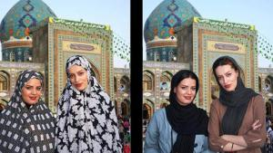 Two photos showing two women wearing different types of veils in front of a holy site in Iran (photo: Mehr)