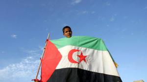 A boy holding the flag of the Sahrawi Arab Democratic Republic in the Laayoune refugee camp near Tindouf, Algeria (photo: picture-alliance/dpa)
