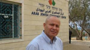 Ibrahim Abu Shandi outside the Arab Jewish Community Center in Jaffa (photo: Ulrike Schleicher)