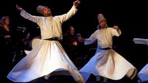 Two of the whirling dervishes of the Mevlevi Order who performed at the Ensemble Sarband concert at the 2014 Beethovenfest in Bonn (photo: Michael Kneffel 2014)