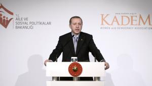 Turkish President Recep Tayyip Erdogan addressing a meeting of the Women and Democracy Association (KADEM) in Istanbul, 24 November 2014 (photo: picture-alliance-abaca)