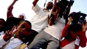 Libyan journalists in Murzuq, south-west Libya (photo: Valerie Stocker)