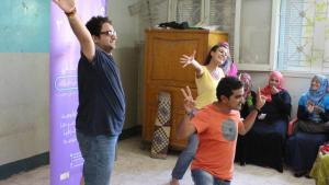 Ahmed, Sherin and Samy (from left) play a variety of roles in their play about FGM (photo: Elisabeth Lehrmann)