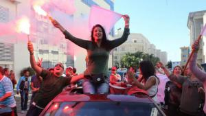 Supporters of Nidaa Tounes celebrating their party's election victory in Tunis (photo: dpa)